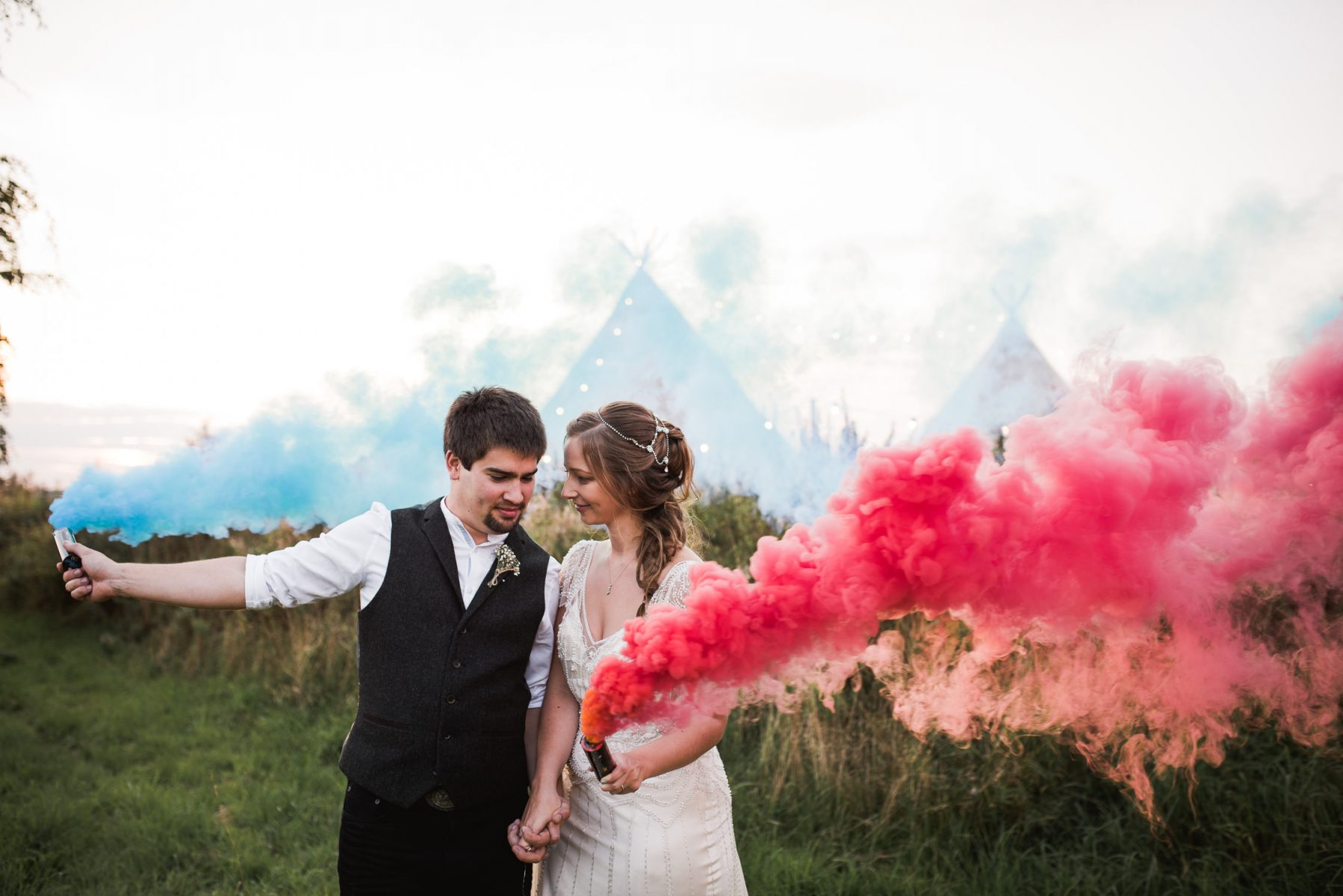Inkersall Grange Farm wedding smoke bomb