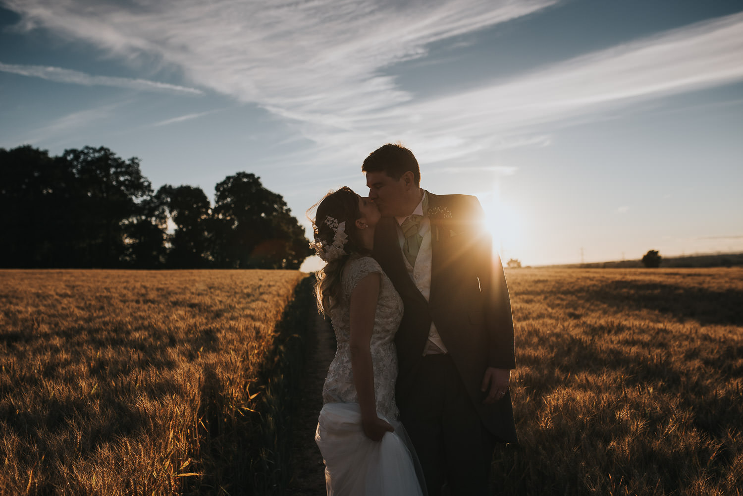 Bride and Groom at sunset by Nottingham wedding photographer