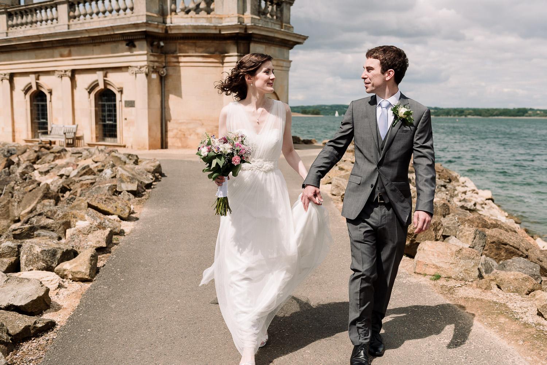 Bride and groom at Normanton Church on Rutland Water