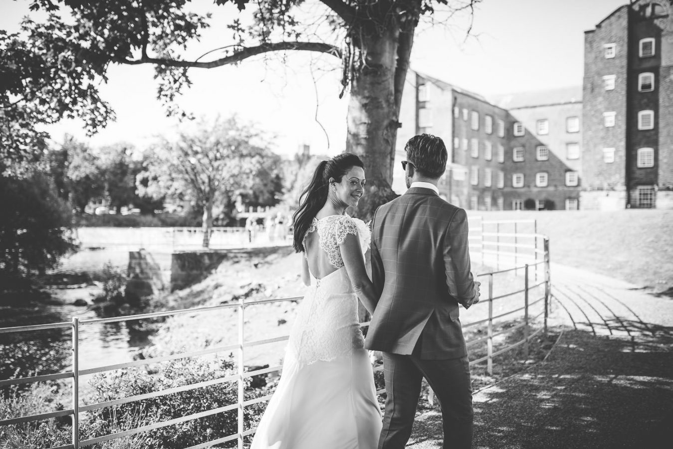Bride and groom at The West Mill Wedding venue, Derbyshire
